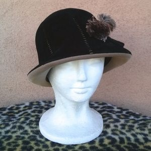 1960s Wool Cloche Fedora Hat OS